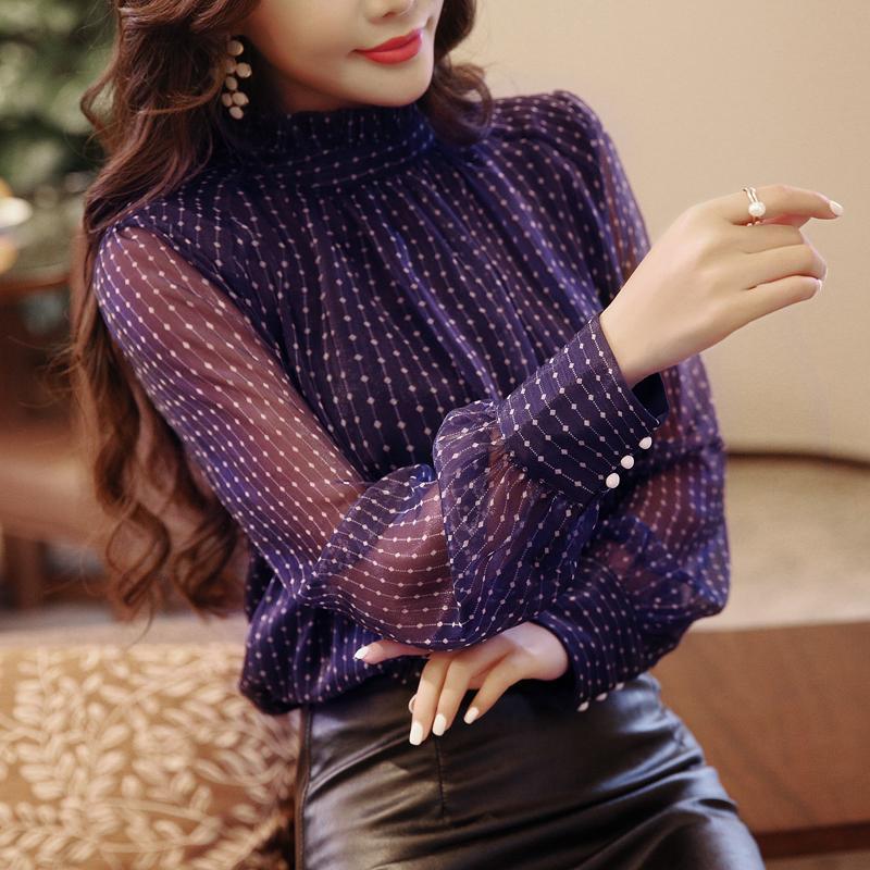 1938564a74f Chiffon Women Blouse Shirt New Fashion 2018 Long Sleeve Dot Print Purple  Women s Clothing Sexy Office Lady Tops Blusas