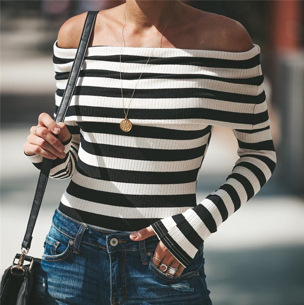Women Fashion Striped Long Sleeve Off Shoulder Slash Neck T Shirt Tops One  Necked Strapless Long Sleeved Slim Knit Top T Shirt Logos Trendy T Shirts  From ... 51239600ac47