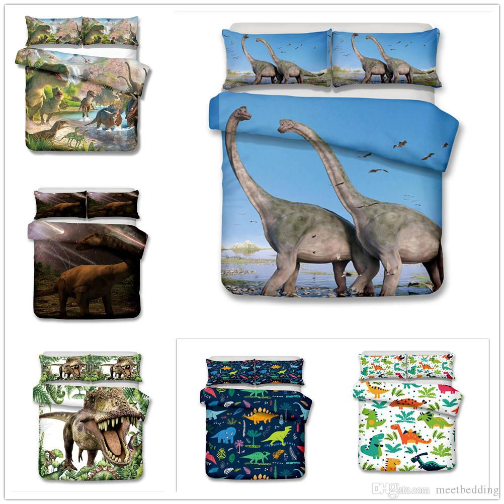 Cartoon Dinosaur Bedding Set Single Double King Size 2/3pcs Duvet Cover Set Soft Gift for Kids Besclothes 2019 New Design