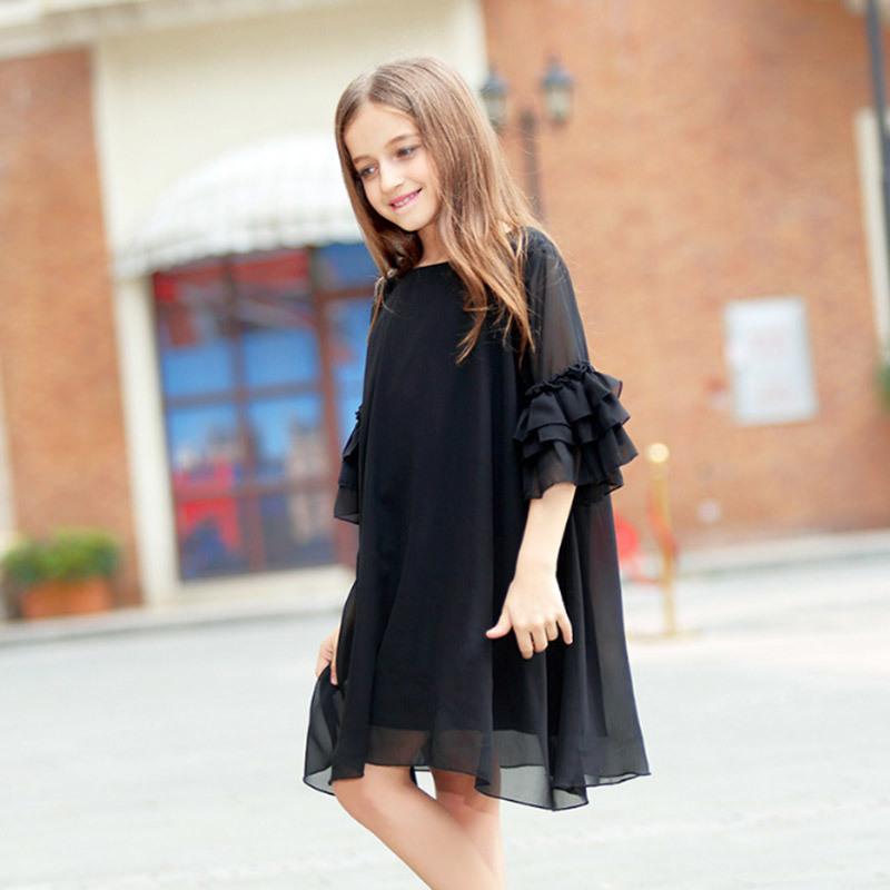 ad93dd962 Vestido de las muchachas de los niños Verano Negro de manga corta manga de  la llamarada gasa Vestidos de las niñas grandes 6 8 10 12 14 16 años ...