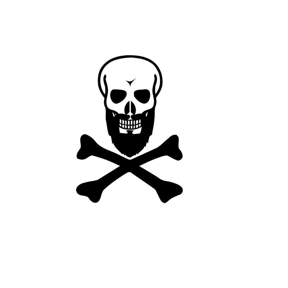 Black beard skull decal sticker car truck window 6 tall white color