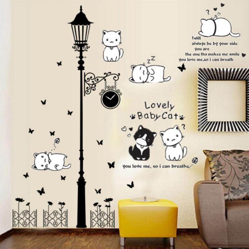 cartoon cat flower wall sticker vine 3d wallpaper diy vinyl