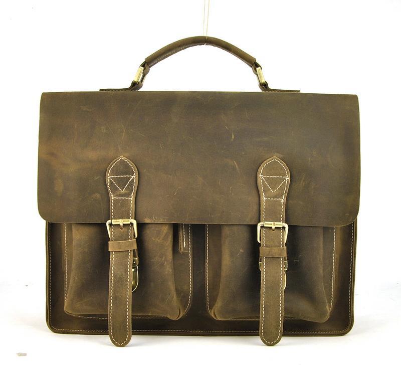 Men Vintage Genuine Leather Briefcase Messenger Shoulder Bag Satchel Business