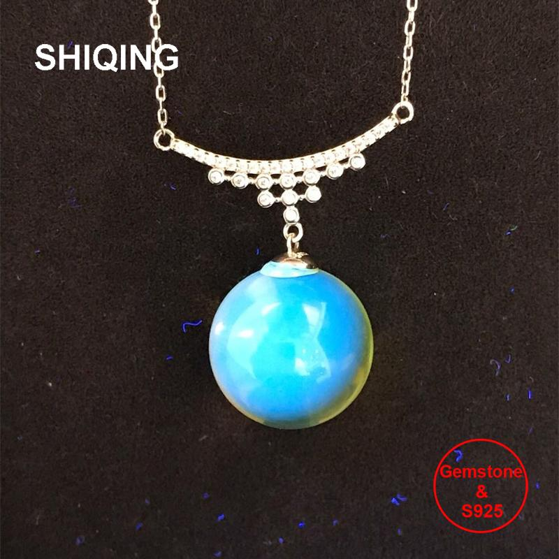 SHIQING Clear nature blue amber 925 sterling silver gemstone necklace for women