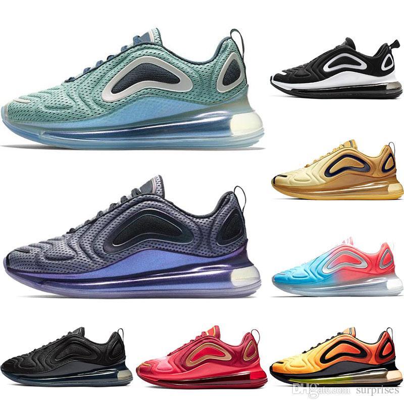new style 6ed58 6185d Acheter Nike Air Max 720 Nouvelle Arrivée 720 Chaussures De Course Pour  Hommes Femmes Metallic Silver Triple Black CARBON GREY SUNSET Baskets  Respirantes ...