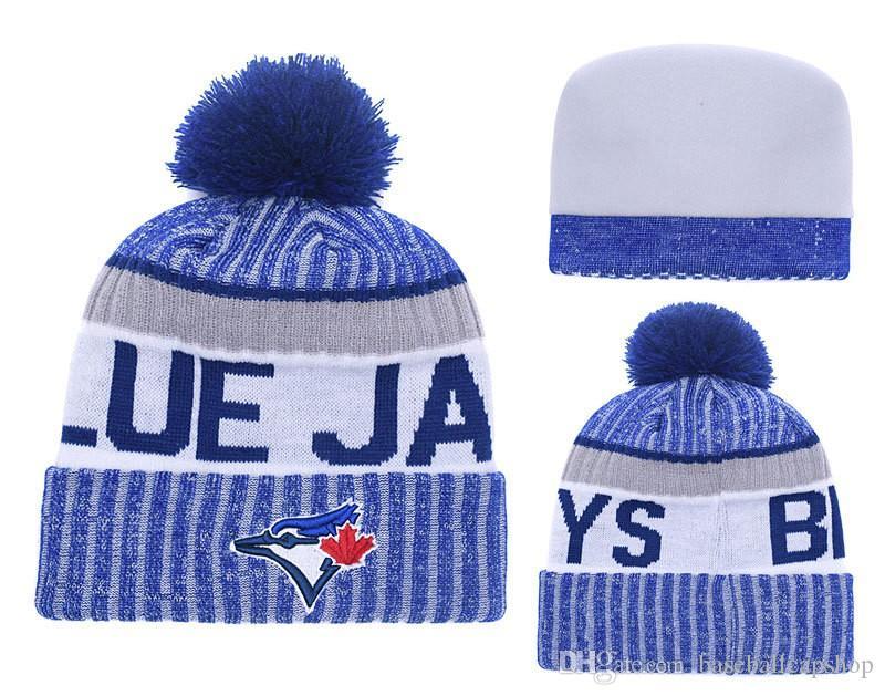 58e722866d8 NEW Men's Toronto Knitted Cuffed Pom Beanie Hat Striped Sideline Warm  Giants Baseball Beanie Cap Blue Bonnet Beanies Skull Hat 1 Piece