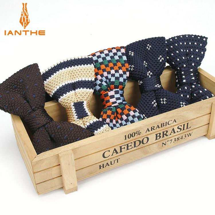 New Style Men Women Knit Bowtie Adjustable Butterfly Double Deck Neckwear Bowties Designer Knitting Stripe Solid Knitted Bow