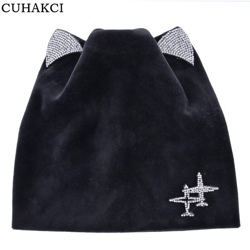 3939aaed9c4ae CUHAKCI Warm Skullies Butterfly Winter Women s Beanies Cat Hat ...
