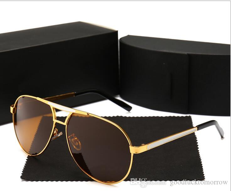 Brand New Gold Brown Lens High Quality Mens Womens Retro UV Protection Sunglasses Unisex Eyewear Metal & Alloy Frame Glasses Polarized UV400
