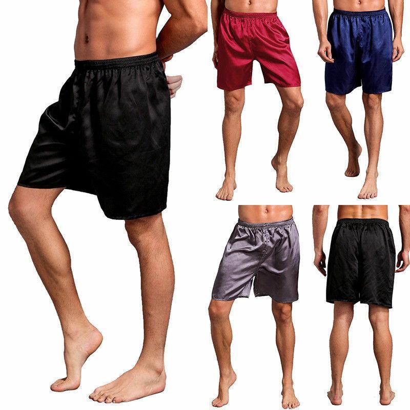 Plus Size Mens de cetim de seda Pijamas Shorts Pijamas Loungewear Pajama