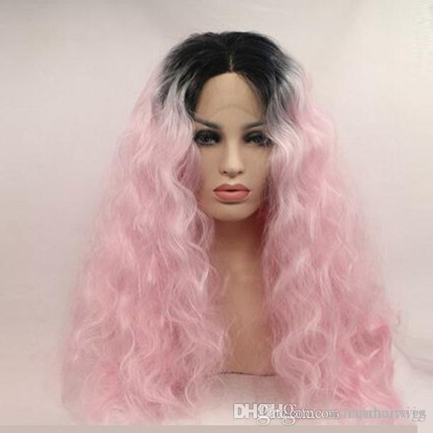 Wholesales Price Ombre Pink Loose Kinky Curly Synthetic Lace Front Glueless BlackTo Light Pink Heat Resistant Hair Wigs For Black Women