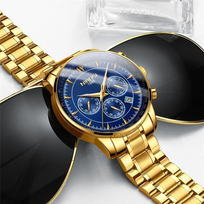 f96e9856dd8 Compre Relogio Masculino NIBOSI Relógios De Quartzo Homens Banda De Aço  Relógios Dos Homens De Luxo Da Marca De Pulso À Prova D  Água Para O  Negócio ...
