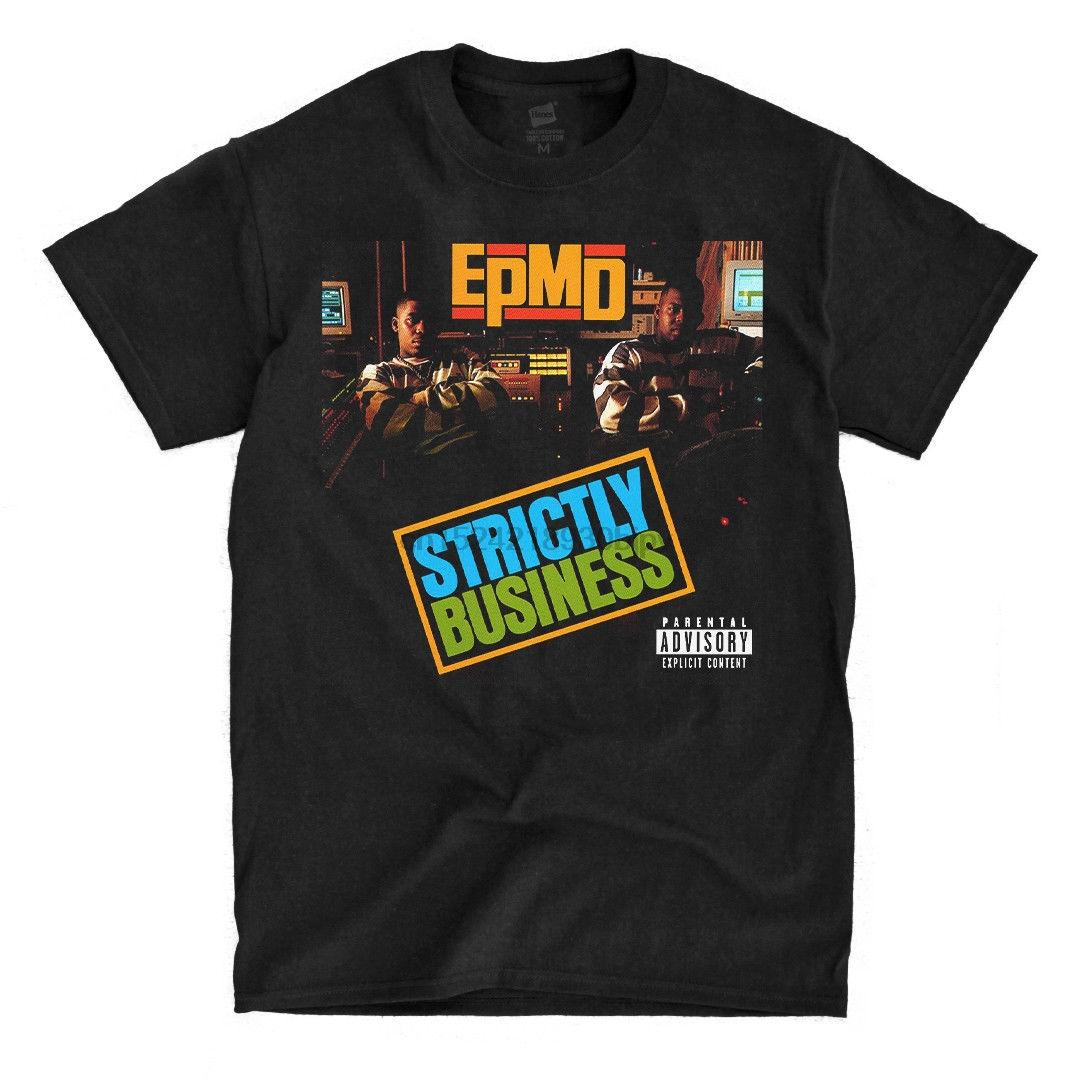 EPMD - Strictly Business - Camiseta negra Fresh Design Summer Camiseta estampada de buena calidad Camiseta de algodón puro para hombres Camiseta de talla grande