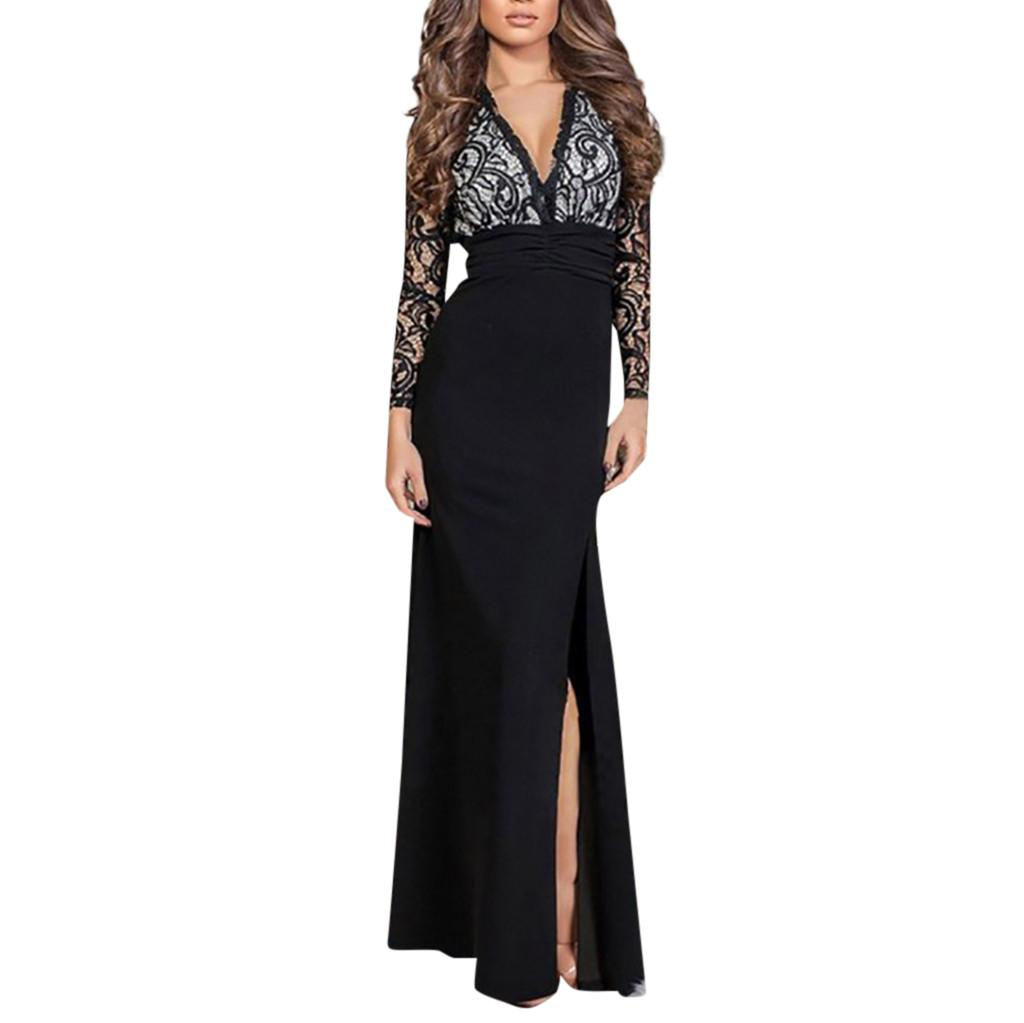 c8627094cf44e Women Spring summer Dress 2018 New Style Women Solid Sex Lace Deep V-Neck  Evening Party Ball Prom Wedding Long Dress