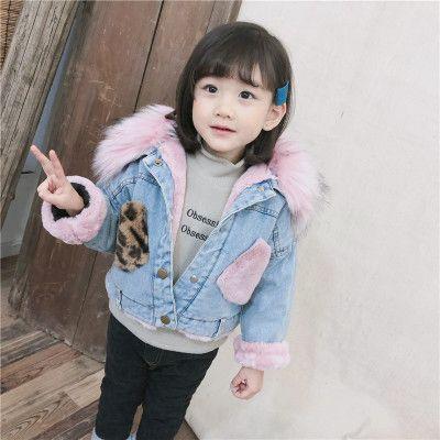 e78f55d66a6 2 3 4 5 6 7 Years Winter Children Clothing Boys Girls Korean Fleece Cotton  Faux Fur Collar Coats Kids Denim Thicken Warm Jackets Kids Summer Jacket ...