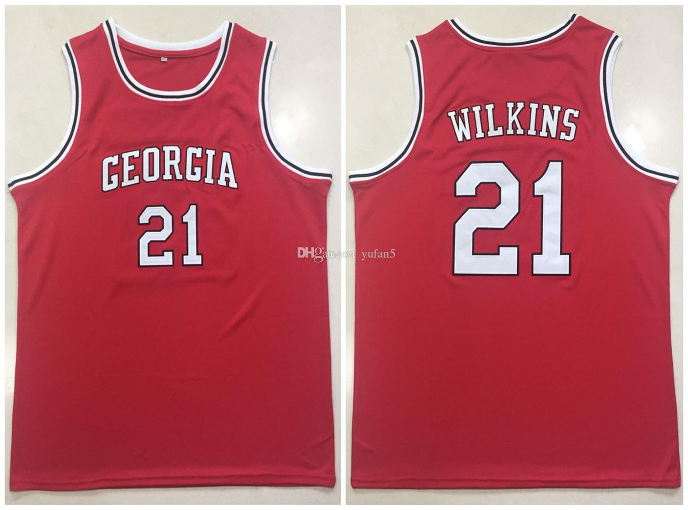 bcb2f92b49c University Of Georgia Bulldogs College Dominique Wilkins #21 Red Retro  Basketball Jersey Mens Stitched Custom Any Number Name Jerseys
