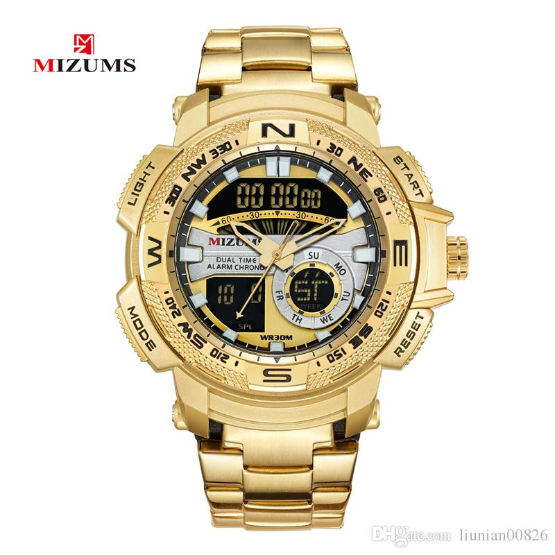 MIZUMS Military Wrist Watches LED Digital Sport Watch Men Gold Stainless Steel Band Dual Time Quartz Clock Man Waterproof Relogio Masculino
