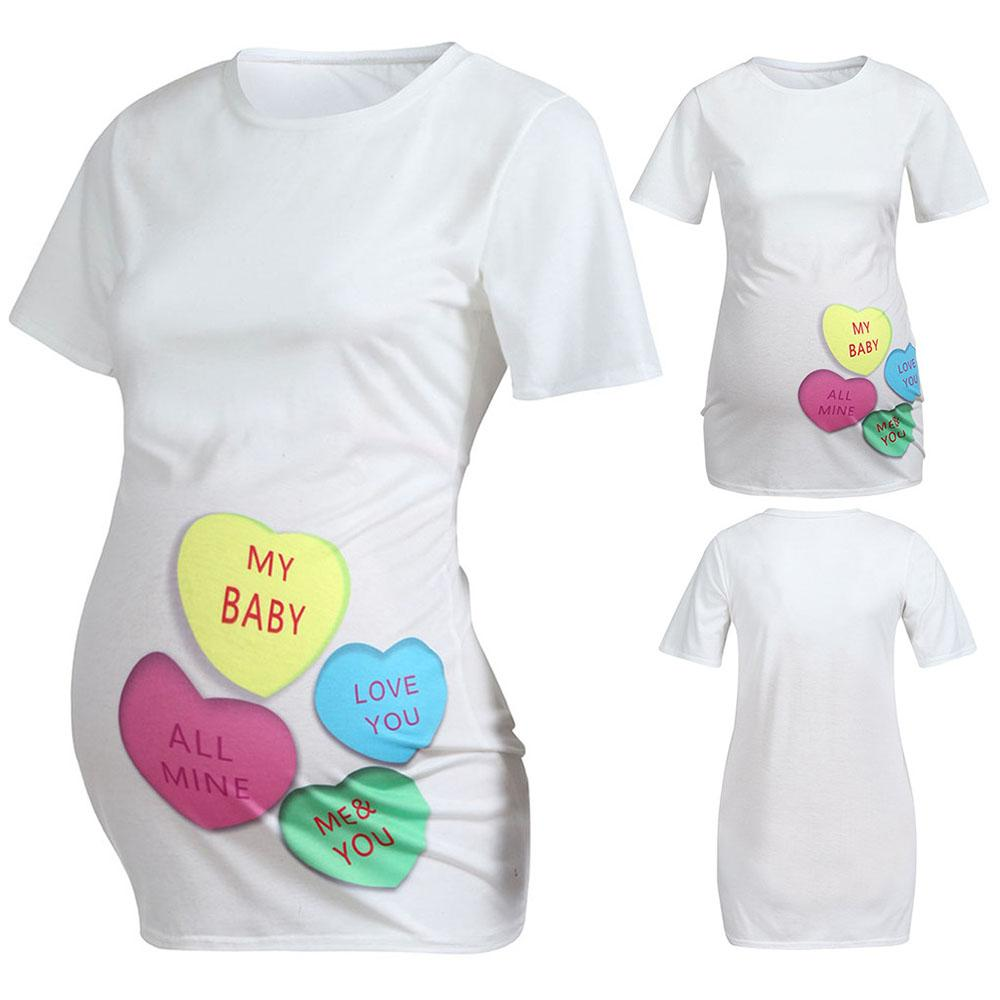 b17609efedcb8 Women Heart Print Pregnants T Shirt Casual Shirt Short Sleeve Maternity Tops  Loose Large Size Women Tops Tees T Shirts Humor Tees Funny Tee From  Sideceam, ...