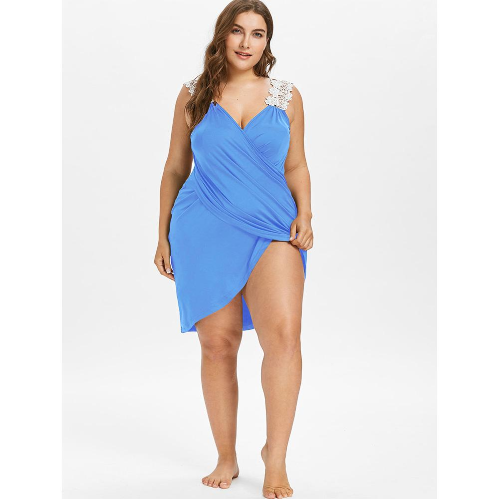 AZULINA 2019 New Plus Size Lace Strap Bikini Cover-Up Beach Cover Up Women Swimsuit Bathing Suit Cover Up Summer Beachwear Tunic