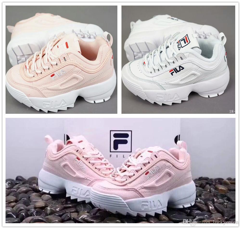 b27a2053d9 Acheter Original FILA Disruptors II 2 Fila Disruptors II 2 Chaussures De  Course Pour Enfants Blanc Rose Muffin En Dents De Scie Tricoté Designer De  Luxe ...