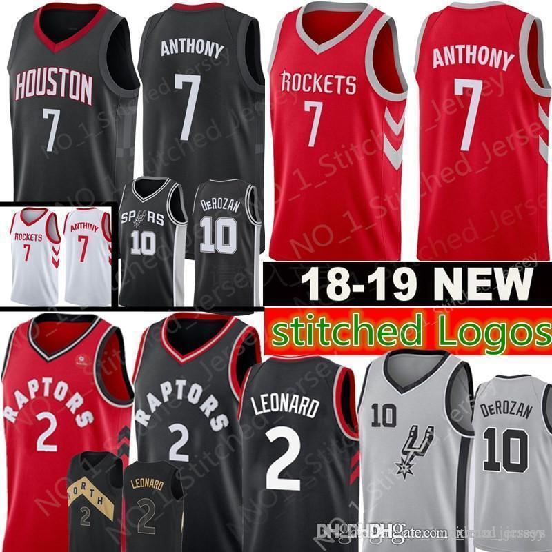 f93dafd6f New 2 Kawhi Leonard 7 Carmelo Anthony 10 Demar DeRozan Jersey Men s 2018  2019 Raptors Rockets Spurs Jerseys Free Shipping High Quality Stitched  Logos Online ...