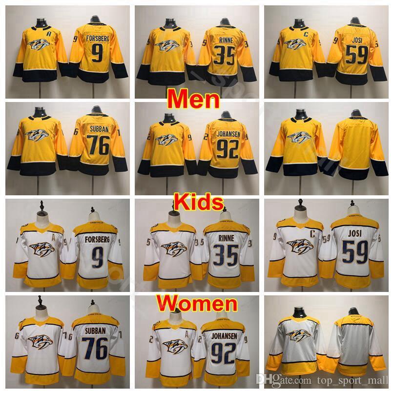 e8f83ee7566 2019 Men Kids Women Nashville Predators Jerseys Hockey Youth 76 PK Subban  35 Pekka Rinne 92 Ryan Johansen 59 Roman Josi 9 Filip Forsberg From  Top sport mall ...