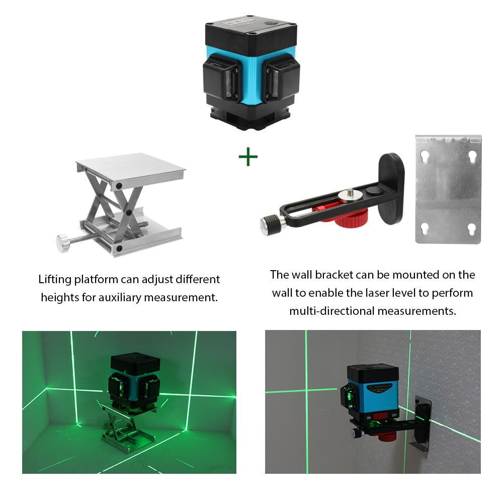 Laser Level 12 Lines 3D Cross Green Beam 360 gradi di misura verticale e orizzontale con telecomando
