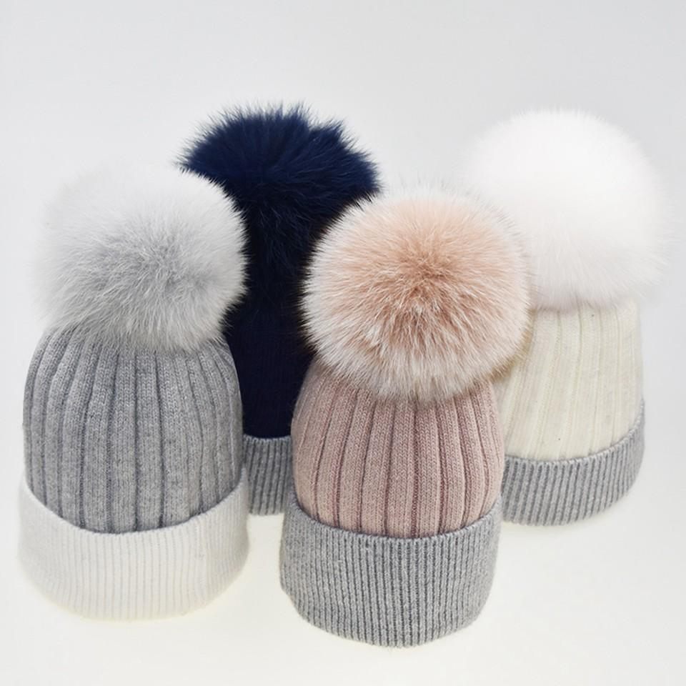1489c3db Woman Winter Hats Wool Fox Fur Pom Pom Stripe 2019 Autumn Winter ...