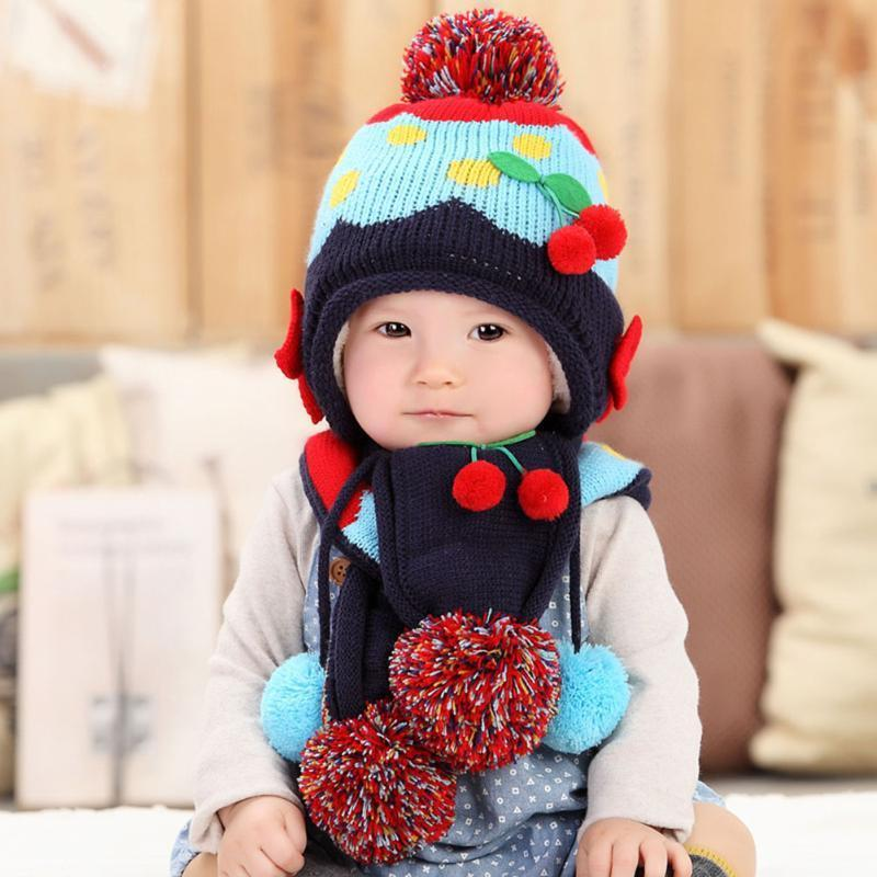 2097ecd3 2019 2017 Winter Warm Baby Hat Newborn Boy Girl Fleece Hat Scarf Set Cute  Strawberry Knitted Cap Beanie Cartoon Fashion Kids Ball Cap From Kareem11,  ...