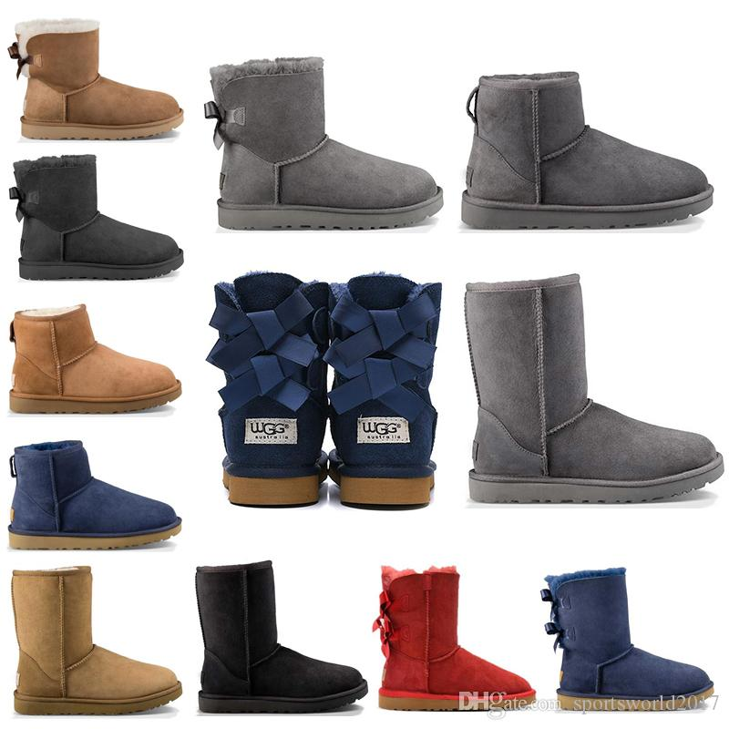 New WGG fashion designer women ankle winter Australia boots chestnut black coffee tall Bailey Bowknot womens work snow knee high fur boots