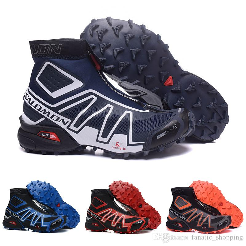 sports shoes 604e9 98144 Salomon Snowcross CS Trail Winter running shoes Black Volt Blue Red  Chaussures Mens Trainers Winter Snow Boots Athletic Sports Sneakers