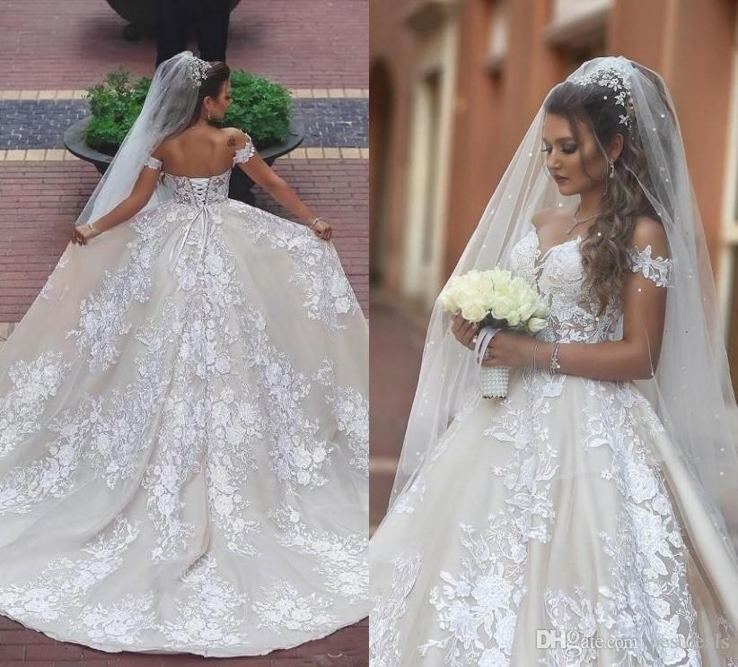 Discount Said Mhamad Lace Wedding Dresses 2019 Appliques