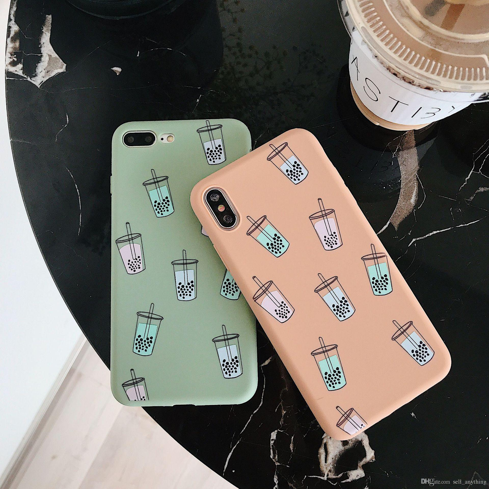 For Iphone Xs Mxs Phone Cases Instagram Daren Pearl Milk Tea Hot Soft Cell  Phone Case For Iphone 6 7 8 Plus Xr
