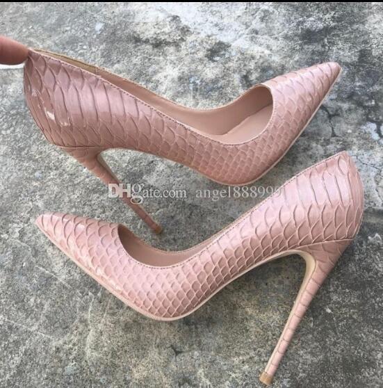 2019 Fashion Black Snakeskin Luxury Red Bottom High-heeled Shoes ... 59c1f57eb