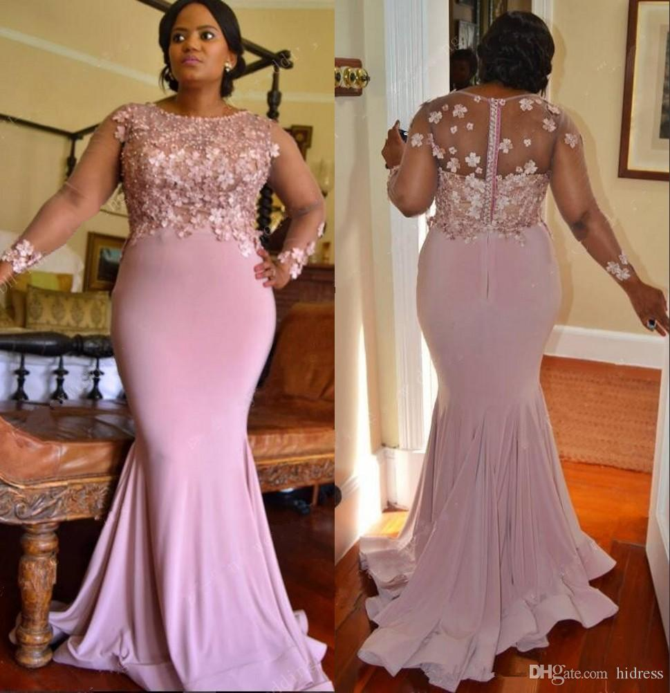 Plus Size Mermaid Lace Arabic 2019 Bridesmaid Dresses Long Sleeves Beaded  Maid Of Honor Dresses Spandex Evening Dresses Wedding Guest Gowns