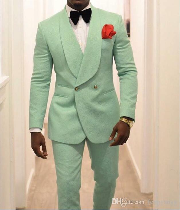 Mint Green Men Groom Tuxedos for Wedding Suits 2019 Shawl Lapel Double Breasted Two Pieces (Jacket Pants) Formal Man Blazer Latest Style