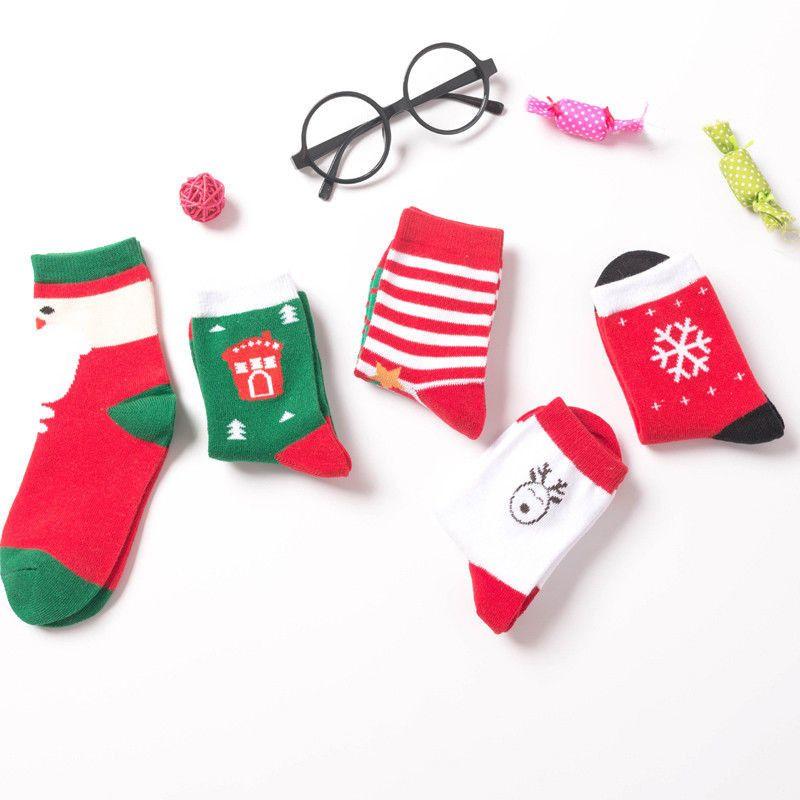 Рождество Тематические Дети Хлопок мультфильм жаккардовые носки Красный рождественские Детские носки впитывают Сладкие Проницаемость Мягкие носки