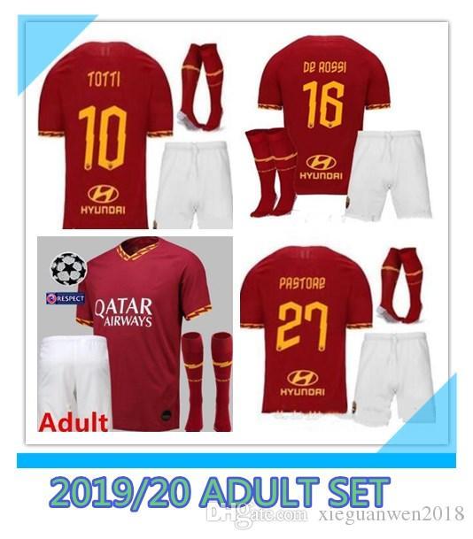 new arrival 91e4e 8df70 2019 2020 AS roma Home soccer Jerseys kit with socks 18/19/20 DZEKO PEROTTI  TOTTI DE.ROSSI rome Camisetas football Shirt Kit uniform