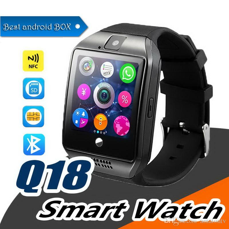 Q18 Smart Watch Bluetooth Wristband Smart Watches TF SIM Card NFC with Camera Chat Software for IOS Android Cellphones with Retail Box