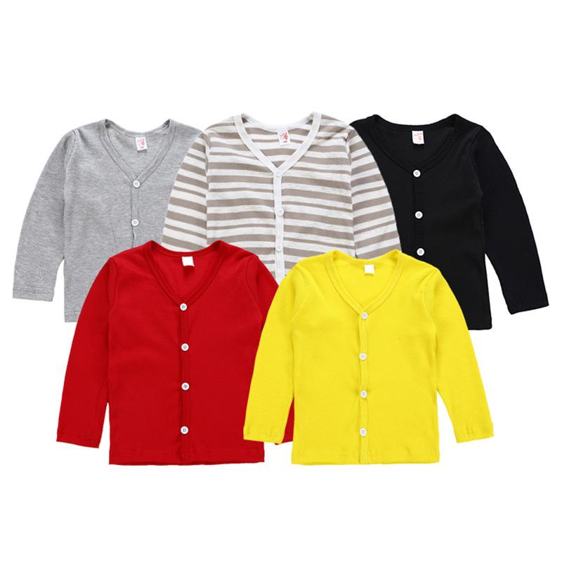Children's Solid Color V-neck Female Boy and Girl Sweater Shirt Spring And Autumn Coat Long-Sleeved Cardigan Children's Clothes 8 color B11