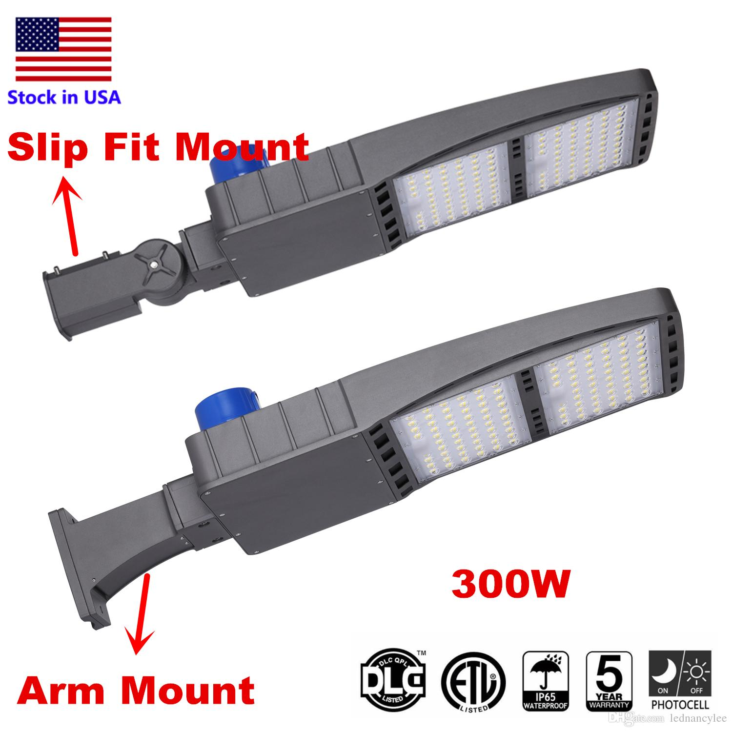 DLC ETL LED Shoebox Pole Light Parking Lot Lights, 300W 5000K Direct Wiring AC 100-277V, IP65 Street Parking Lot Lights, Free Photocell