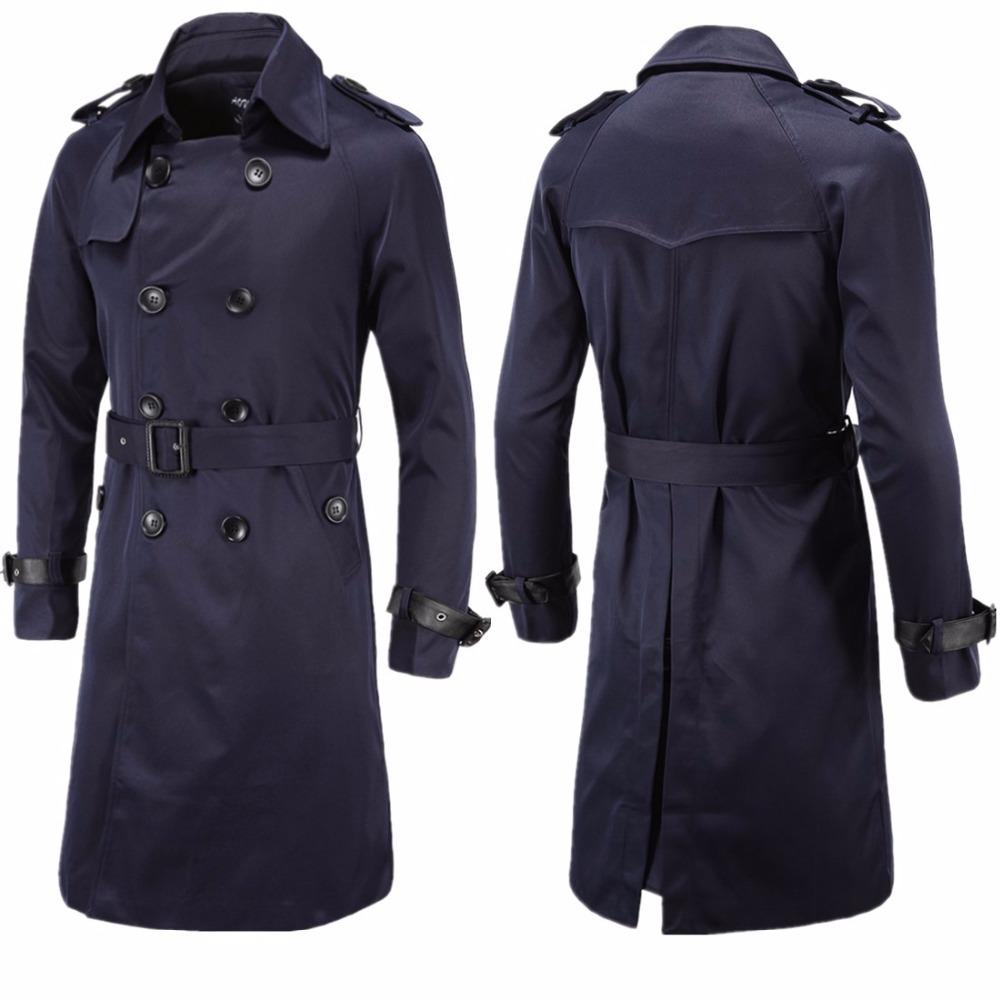 Top quality 2019 Fashion Autumn winter gentleman trench coat Slim Fit double-breasted Long Style casaco masculino Coat