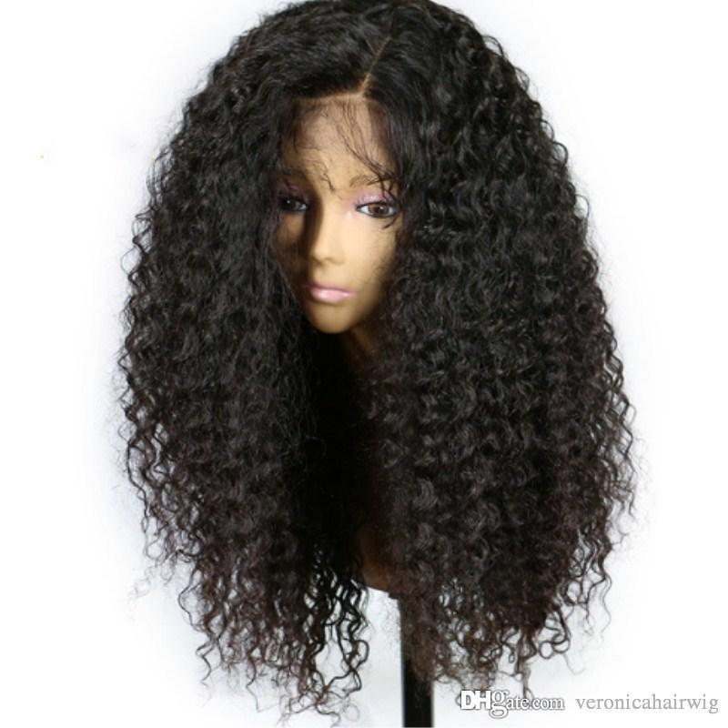 DHL Glueless Lace Front Human Hair Lace Wigs For Black Women Brazilian Afro Kinky Curly Wig Virgin Hair Pre Plucked Bleached Knots