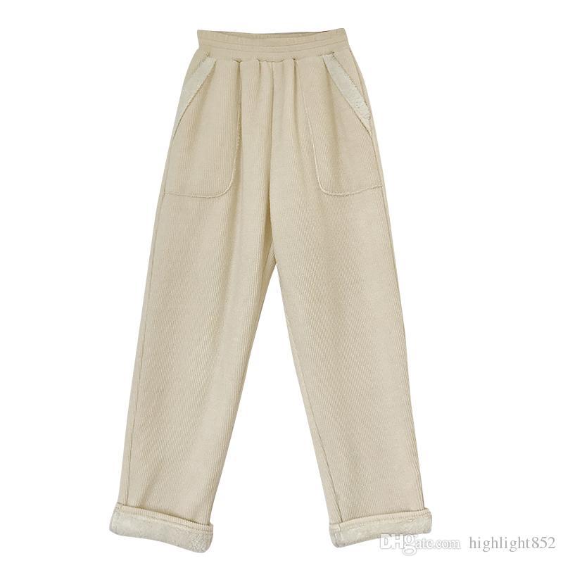 5748f384f7 Compre Pantalones Anchos De Lana Y Pantalones De Mujer Otoño E Invierno De  2018 Los Estudiantes Usan Pantalones De 9 Minutos Con Cintura Alta Suelta Y  Ropa ...