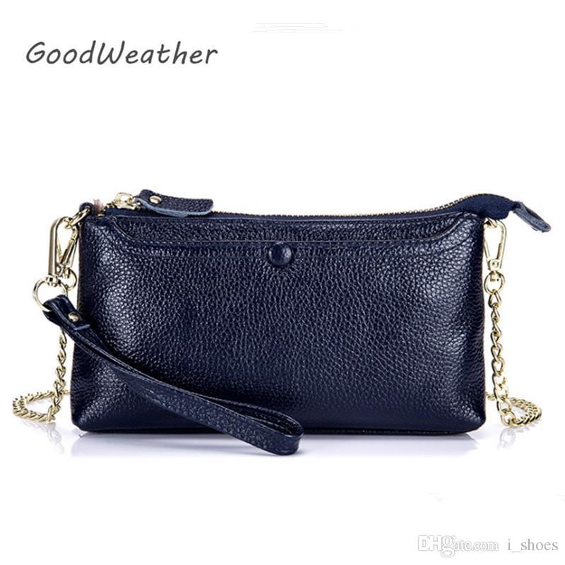 5f4014d257d2 Fashion Clutch Female Genuine Leather Bag Ladies Blue Small Designer ...