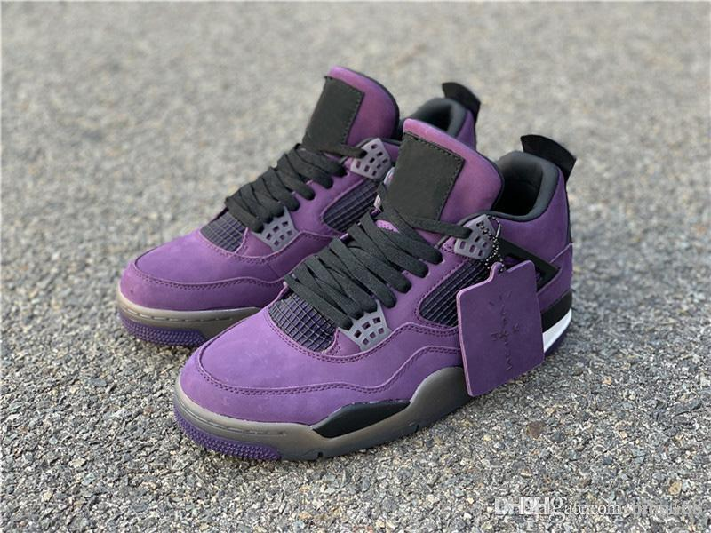 info for abf5f e7627 2018 Release Authentic Travis Scott x 4S IV Cactus Jack Basketball Shoes  For Men Purple Suede Sports Sneakers With Box 308497-510