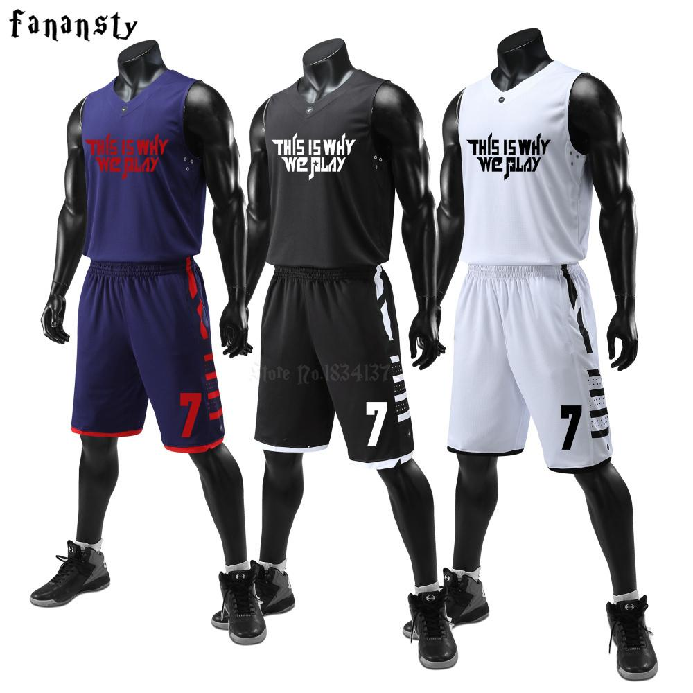 0a3015312 2019 Men Basketball Uniforms Set Mens Sports Suits Breathable Quick Dry Custom  Mens Cheap College Basketball Jerseys 2018 New C18122501 From Shen8407