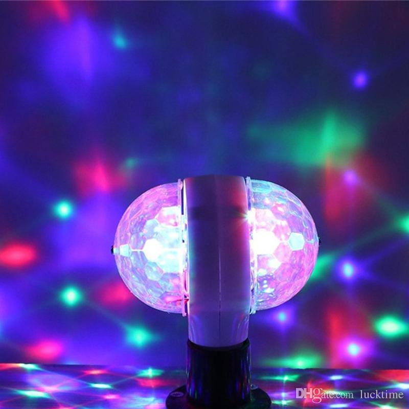 E27 RGB LED Stage Bulb Crystal magic ball lamp Auto Rotating Magic Ball light Disco Lighting Shower Double Head