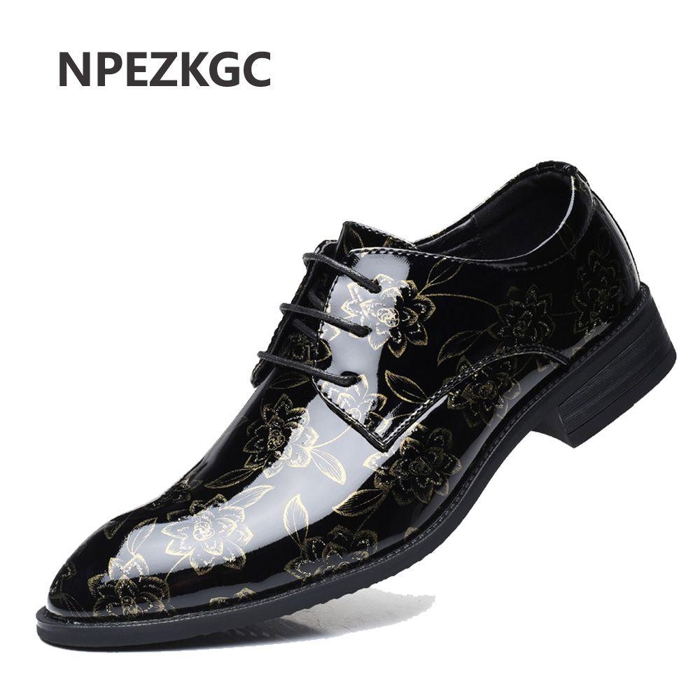 ac630e4e3 NPEZKGC Men Dress Shoes Floral Pattern Men Formal Shoes Leather Luxury  Fashion Groom Wedding Oxford Dress Casual Shoes For Men Mens Sandals From  Leafie
