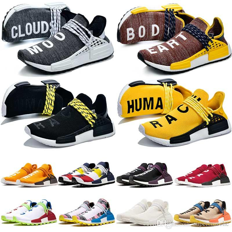 adidas nmd human race Scarpe da tennis uomo Specie umane Pharrell Williams PW Human Race Trail Hu Core nero inchiostro Nobel Giallo Solar Pack Equality Womens Mens Trainers